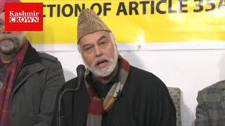 Civil society press conference on Article 35A at Press Club Srinagar.