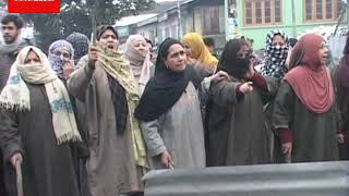 Women Protest at Rajouri Kadal area Of Downtown Srinagar against Arrest Of Nine Youths By NIA.