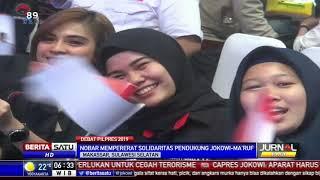 Milenial dan Ibu-Ibu Pendukung Jokowi-Ma'ruf Nobar Debat Bareng Wali Kota Makassar