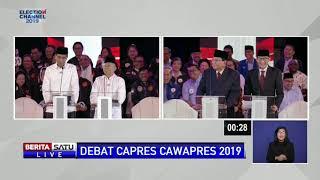 Inilah Momen Sandiaga Uno Pijat Pundak Prabowo di Debat Semalam