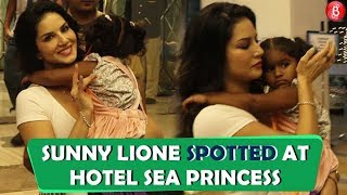 Sunny Leone SPOTTED At Hotel Sea Princess With Daughter
