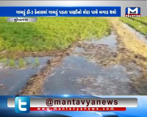 Surendranagar: Water wastage after sinkhole occurred in D3 minor Canal