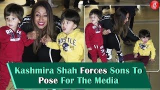 Kashmira Shah FORCES Sons To Pose For The Media