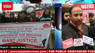 NHM employees held protest in Bandipora demanding their regularization