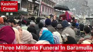#BreakingNews Live From Baramulla. Funeral Procession Of Three Local Militants Being Held