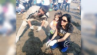 Karanvir Bohra Teejay And Daughter Bella and Vienna At BEACH CLEAN UP On Republic Day