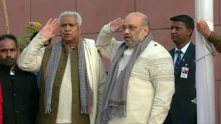 BJP National President Shri Amit Shah hoisting the National Flag at BJP HQ
