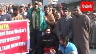 Soil and Water conservation dept employees protest at office premises at aalochibagh demands release