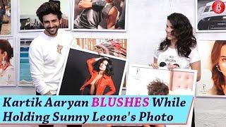 Kartik Aaryan BLUSHES While Holding Sunny Leones Photo | Daboo Ratnani 2019 Calendar