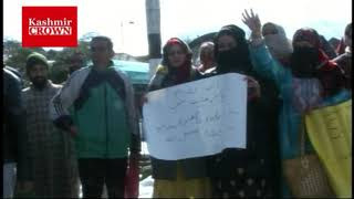 Sakshar Bharat Mission Employees Protest Over regularisation In Baramulla.Report by Rezwan Mir