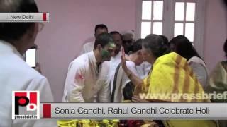 Sonia Gandhi, Rahul Gandhi Celebrate Holi AICC Office in New Delhi