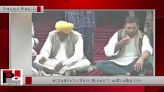 Rahul Gandhi eats lunch with villagers in Sangrur, Punjab - 02.02.2017