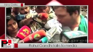 Rahul Gandhi talks to media at Jantar Mantar in Delhi (31-03-2017)