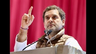 Congress President Rahul Gandhi addresses the national convention of AICC Minority Department