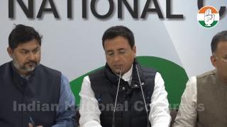 AICC Press briefing by K C Venugopal and Randeep Singh Surjewala