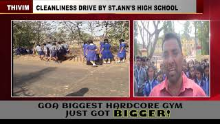 St. Ann's HS Students Go On Cleanliness Drive At Thivim