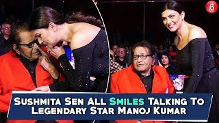 Sushmita Sen All Smiles Talking To Legendary Star Manoj Kumar
