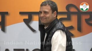 Congress President Rahul Gandhi addresses media at AICC HQ on Rafale Deal Scam