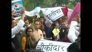 Congress MPs protest outside Parliament over Rafale deal