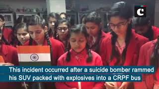 Pulwama terror attack- School students pay tribute to CRPF jawans in UP's Moradabad