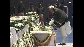 Pulwama attack- PM Narendra Modi lays wreath on mortal remains of CRPF jawans