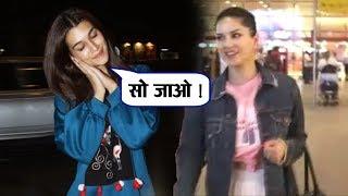 Kriti Sanon And Sunny Leone Spotted At MUMBAI Airport