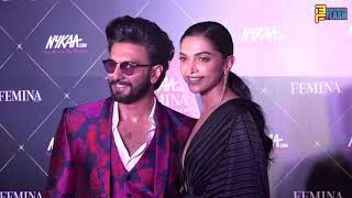 Cute Couple Ranveer Singh & Deepika Padukone  At The Nykaa Femina Beauty Awards 2019