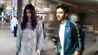 Kartik Aaryan And Kriti Sanon Spotted At Mumbai Airport | Luka Chuppi