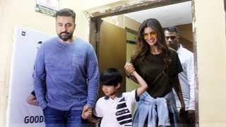 Shilpa Shetty With Family Spotted At PVR Cinema Juhu