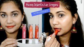 Nivea ColorOn Lip Crayons | Review & Swatches | Nidhi Katiyar