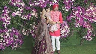 Harbhajan Singh With Wife Geeta Basra And Cute Daughter At Akash Ambani-Shloka Mehta Wedding