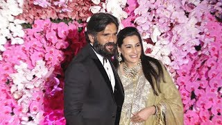 Suniel Shetty With Wife At Akash Ambani And Sholka Mehta Wedding Reception