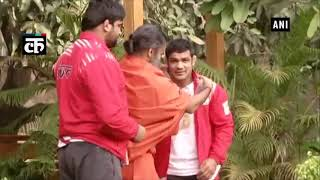 Wrestlers Sushil Kumar and Sumit Malik meet Baba Ramdev