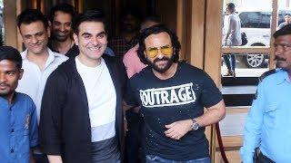 Arbaaz Khan With Saif Ali Khan Snapped For Talk Show At HOOT Juhu