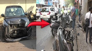Speeding Taxi Hits 11 Parked Bikes On 18th June Road Panjim