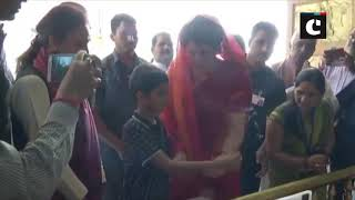 Priyanka Gandhi offers prayers at Sita Samahit Temple on 2nd day of 'Ganga-Yatra'