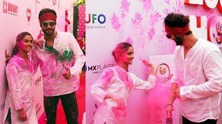 Notebook Stars Pranutan Bahl & Zaheer Iqbal Holi Celebration At ZOOM Holi Fest 2019