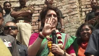 Smt. Priyanka Gandhi Vadra addresses addresses a gathering in Manaiya, Uttar Pradesh