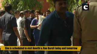 Priyanka Gandhi arrives at Lucknow airport