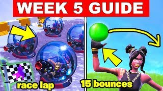 Fortnite ALL Season 8 Week 5 Challenges Guide! 15 bounces Bouncy Ball toy, Use a Volcano Vent