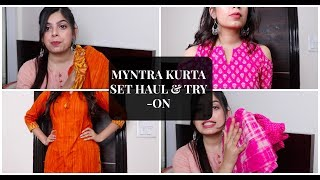 Myntra Kurta Set Haul | Under Rs.1000 | Try-On Haul