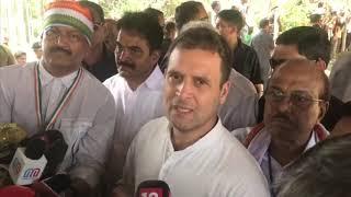 Congress President Rahul Gandhi addresses media in Wayanad after filing nomination