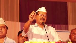 Delhi CM Arvind Kejriwal at Holambi, Narela campaigning for Gugan Singh