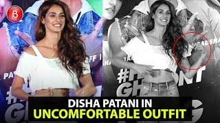 Disha Patani spotted in an uncomfortable outfit at her song launch
