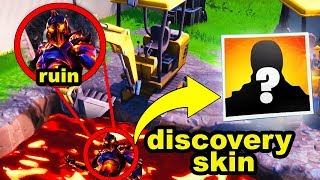 RUIN SKIN FORTNITE NEW DIGGING LOOT LAKE LAVA EVENT - DISCOVERY SKIN REVEALED! NEW DIG SITE