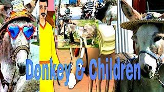 Village children enjoying with Donkey.