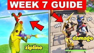 Fortnite ALL Season 8 Week 7 Challenges Guide! Deal Damage riding a Zipline, Visit Pirate Camps