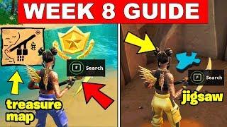 fortnite all season 8 week 8 challenges guide search the treasure map signpost jigsaw - fortnite season 8 week 3 treasure map