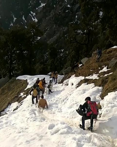 Triund Trek - People Sliding on Snow