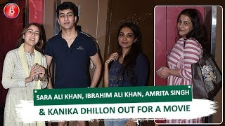 Sara Ali Khan Ibrahim Ali Khan Amrita Singh & Kanika Dhillon Out For A Movie